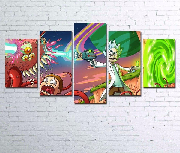 Canvas Pictures Home Decor For Living Room Wall Art 5 Pieces Rick And Morty Poster HD Prints Anime Cartoon Paintings Framework