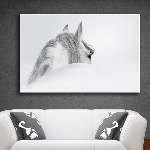 HDARTISAN Wall Art Pictures Canvas Art Prints Animal Painting White horse (3) For Living Room No Frame