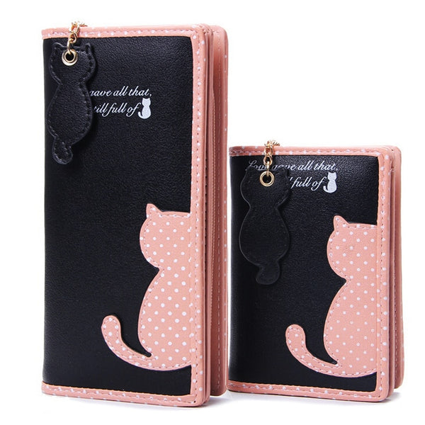 Fashion Women Wallets Zipper Lady Handbags Clutch Coin Purse Cards Holder PU Leather Brand Cat Woman Wallet Moneybags Burse Bags