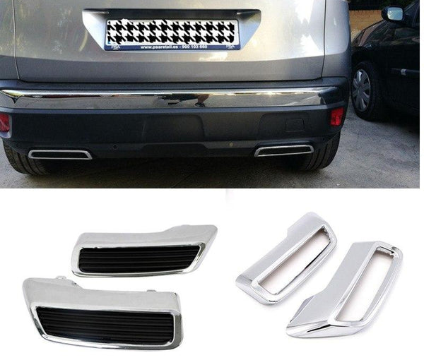 ABS 2PCS Exterior Trims Car Replacement kit Tail Rear End Pipe Exhaust Muffler Tips Cover for Peugeot 3008 5008 2016 2017 2018