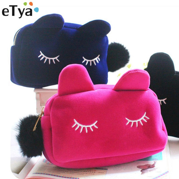 eTya Cartoon Cat Portable Zipper Cosmetic Bag Travel Toiletry Storage Pouch Women Makeup Day Use Nesesser Cosmetic Small Bags