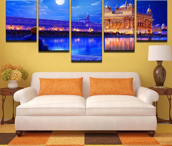 Modular Wall Art Pictures Frame Living Room HD Printed Poster 5 Pieces Indian Golden Temple Canvas Painting Home Decor PENGDA
