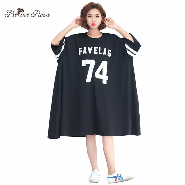 BelineRosa 2018 Women's Shirt Dresses Korean Baseball Style Casual Big Sizes Women Clothing Fit 3XL 4XL 5XL 6XL TYW00726