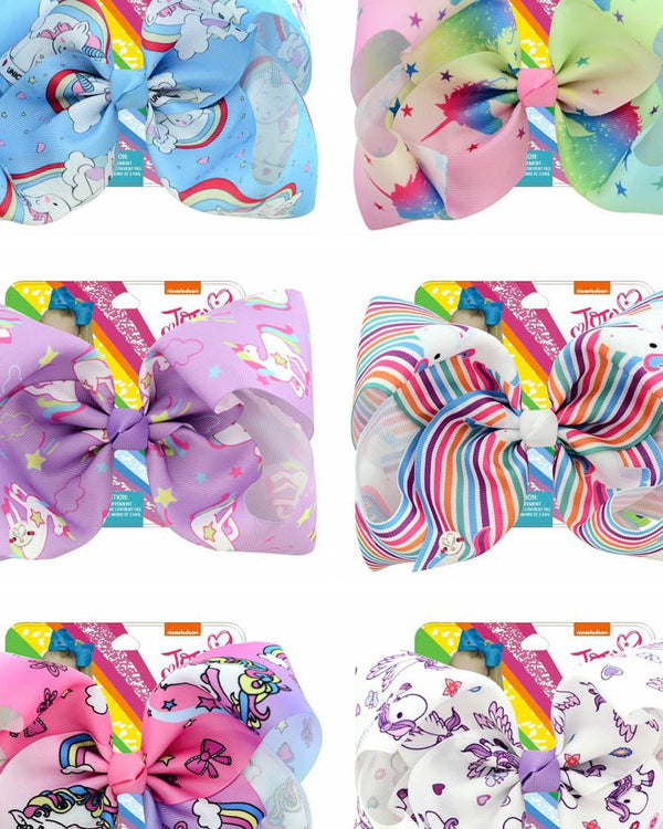 "1Pcs 8 Inch""jojo Girls Siwa Unicorn Collection Coral Colorful Hairpin Large Hair Bows Hair Accessories For Girls"