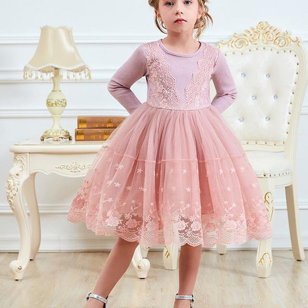 Girls Dress Cute Lace Tulle Outfits 2018 Winter Girl Dresses For Girl Party Birthday Prom Ceremonies Infantil Vestido 3 5 7 8Yrs