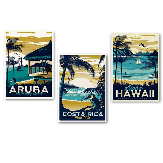 Everything.Bargains Minimalist Vintage Aruba Hawaii Sea Beach Poster Canvas Art Print Nordic Painting Landscape Wall Pictures For Living