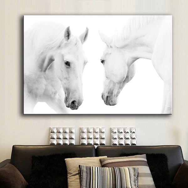 HDARTISAN Wall Art Prints Canvas Art Prints Wall Pictures Two White horse (5) Animal Painting For Living Room no frame