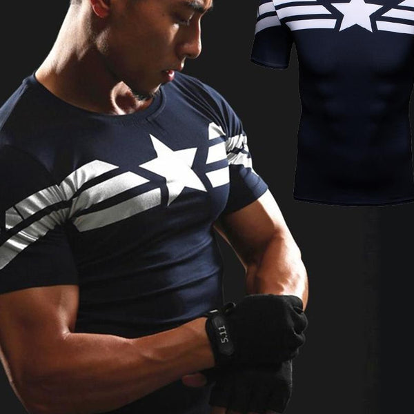 First Avenger Captain America T-Shirt Gym MMA T Shirt Men Run Short Sleeve Tops 3D Prin Compression Shirt Superman Punisher Tees