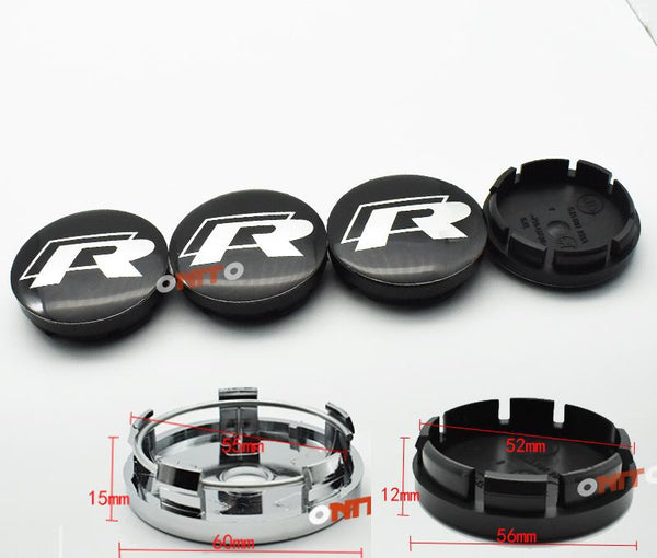 4pc Black ABS 56mm 60mm 65mm R Line Car Wheel Center Caps Auto Accessories Emblem R logo For Scirocco Tiguan Wheel Centre Caps