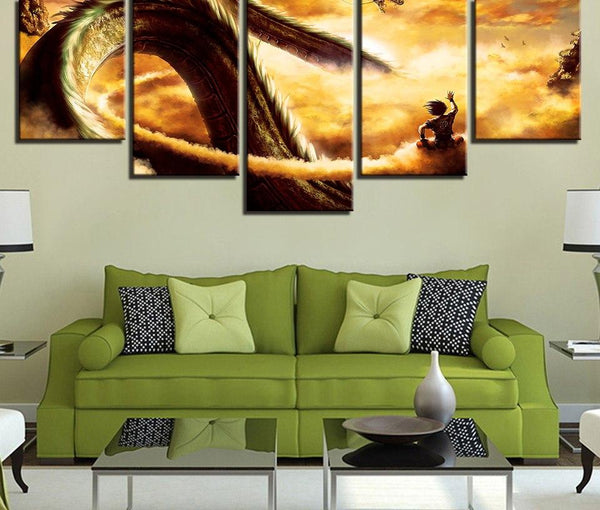 Modular Canvas Prints Pictures Home Decor Framework 5 Pieces Cartoon Dragon Ball Z Paintings Goku Ride Shenron Poster Wall Art