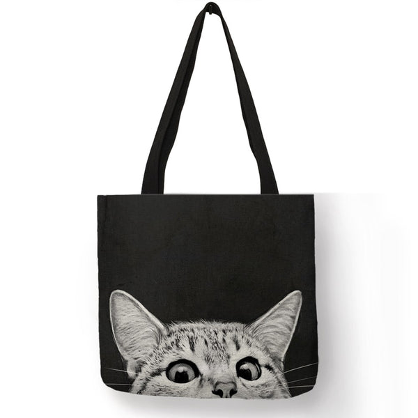 Fabric Traveling Shopping Bags Cute Kitty Cat Print Tote Bag for Women Personality School Shoulder Bags Dropshipping