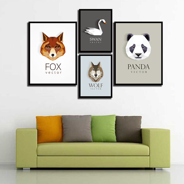 Nordic Cartoon Animals Poster Fox Panda Swan Wolf Painting Kids Wall Art Canvas Print Quotes Pictures For Living Room Home Decor