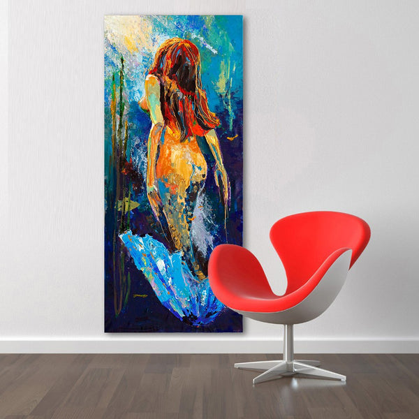 HDARTISAN Wall Art Mermaid Oil Painting Home Decor Canvas Pictures For Living Room Expressism No Frame