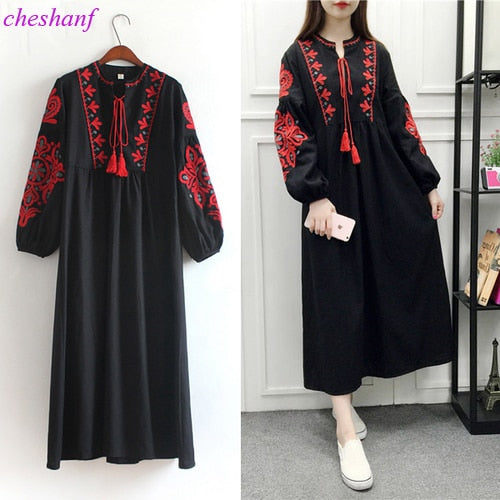 Cheshanf Floral Embroidered Ethnic Dress Cotton Linen Lantern Long Sleeve Maxi Dress Black Blue White Loose Long Dress Women
