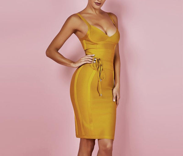 Deer Lady 2018 Bandage Dress New Arrivals Summer Yellow Bodycon Dress V Neck Spaghetti Strap Autumn Bandage Dress Party Women