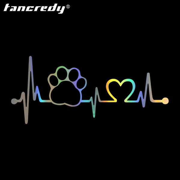 Tancredy The 2nd Half Price 17.8*7.7cm 3D Car Styling Stickers Dog Paw Heartbeat Car Stickers and Decals Car Body Stickers