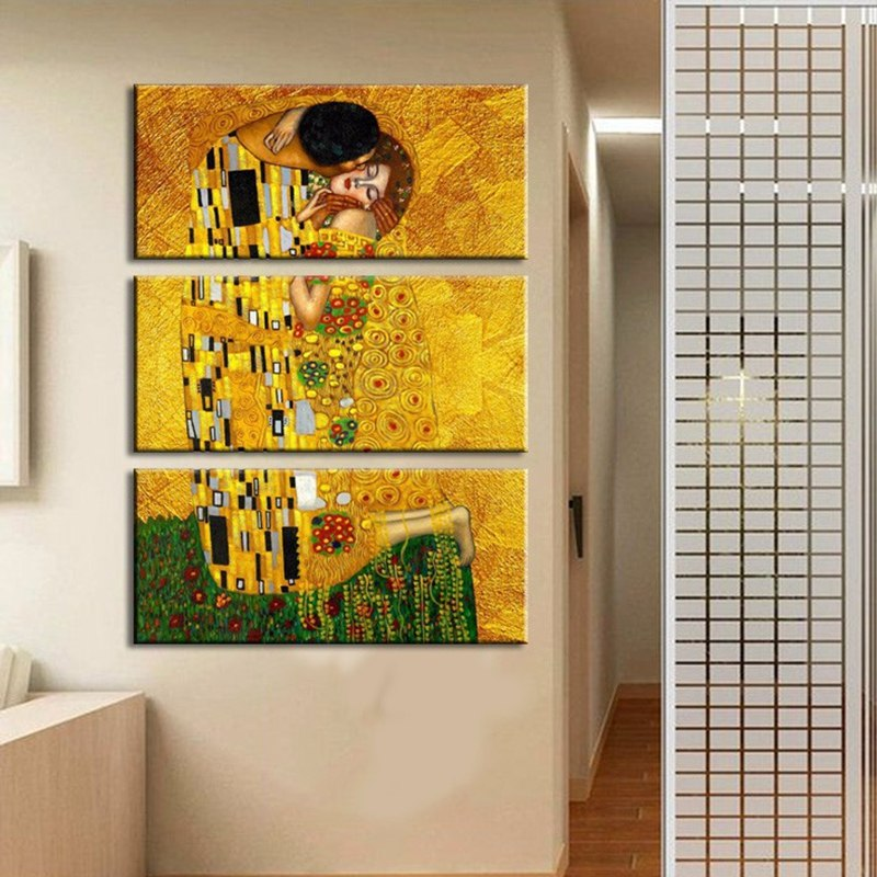 Canvas HD Prints Pictures Home Decor Framework 3 Pieces Gustav Klimt Paintings Wall Art For Living Room That First Kiss Poster