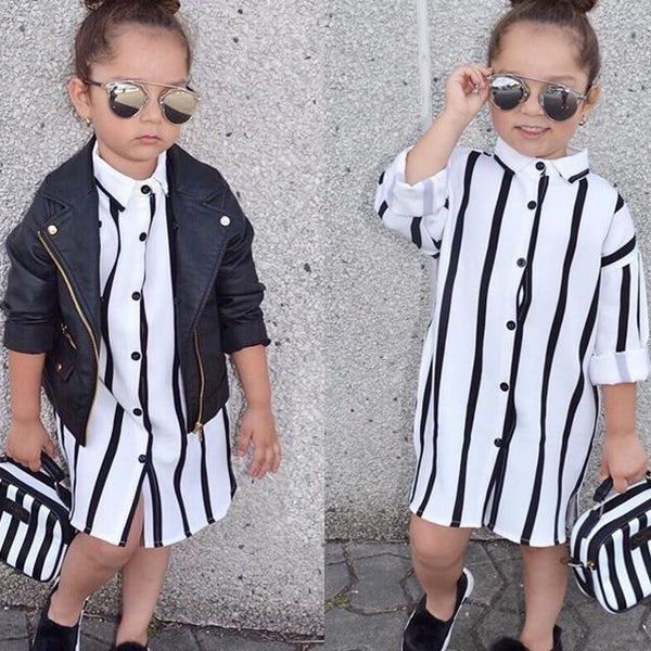 2017 New Casual Long Sleeve Buttons Shirt Dresses Striped Girls Kids Dress Clothes 1-6Y