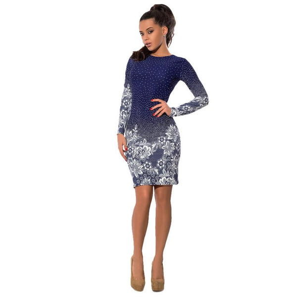 2018 Womens Casual Retro Printing Pencil Dress Spring Summer Office Ladies Long Sleeve Sexy Slim Bodycon Mini Party Dresses #YL5