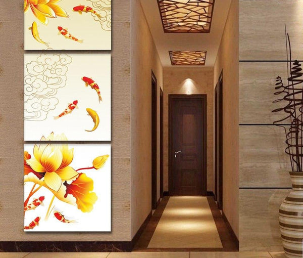 Modular Canvas Poster Home Decor 3 Pieces Koi Fish Lotus And Carp Painting Modern Living Room Prints Pictures Wall Artwork Frame