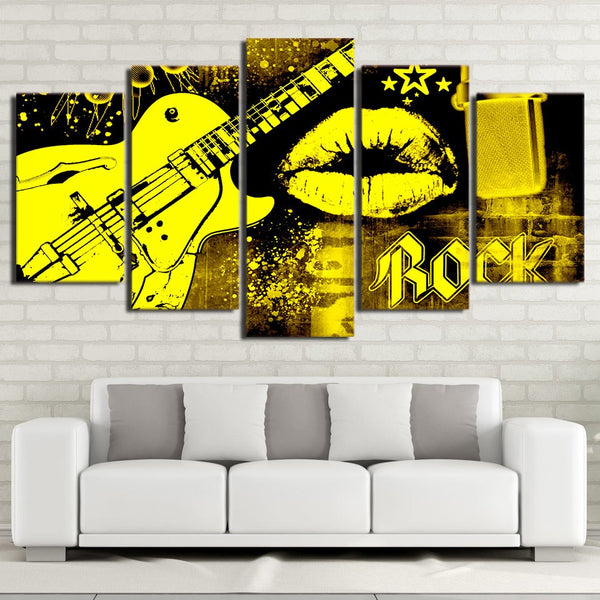 Wall Art Poster Home Decor For Living Room Framework Canvas Pictures 5 Pieces Guitar Rock Music HD Prints Mouth Kiss Paintings