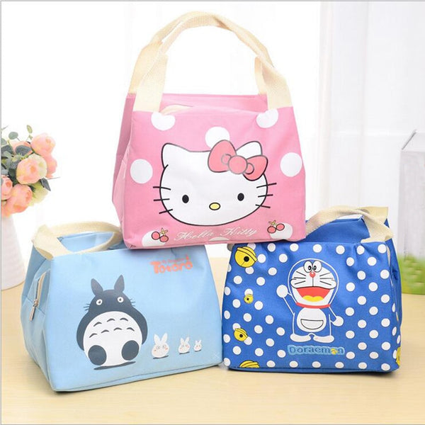 Fashion Portable Cartoon Cat Thermal Cooler Insulated Waterproof  Lunch Carry Storage Picnic Bag Pouch Lunch Bag for Women Kids