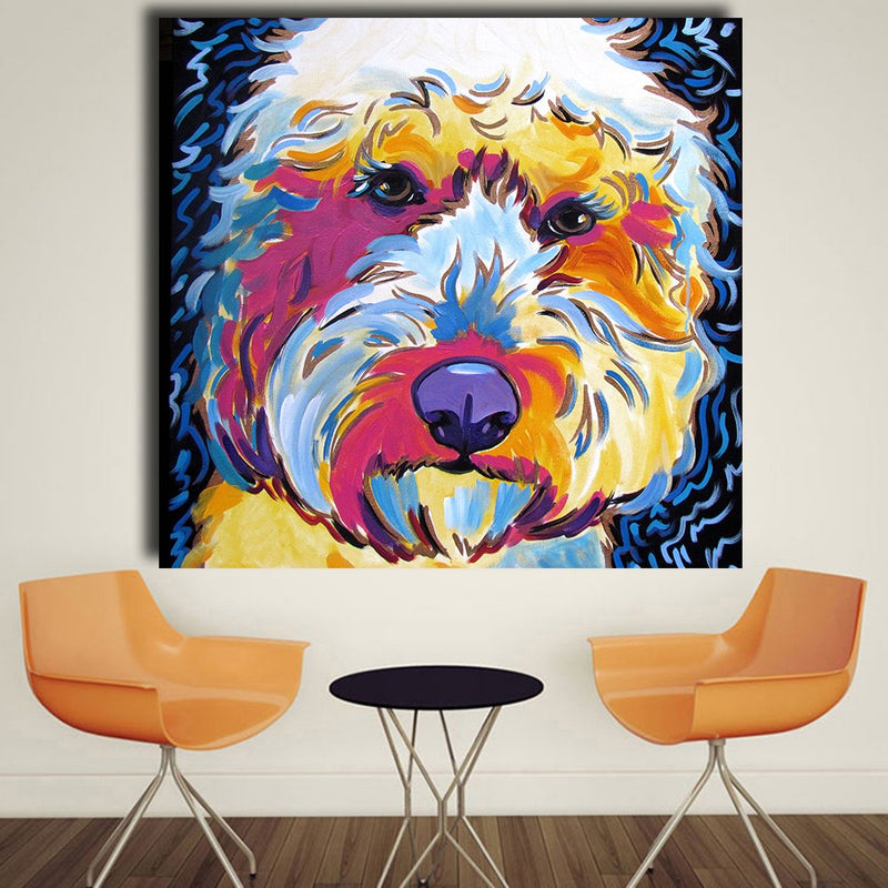 HDARTISAN Animal Golden doodle Dog Pop Art Portrait Oil Painting Wall Painting on Canvas Art Prints for Living Room Home Decor