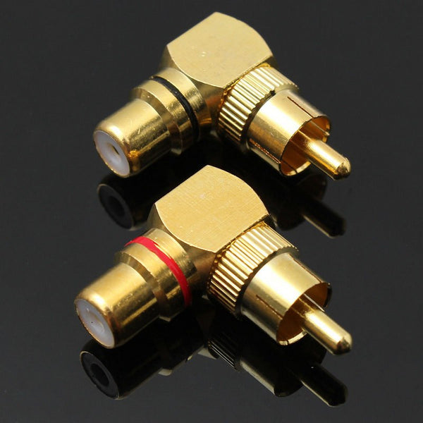 Mayitr 2pcs Brass RCA Right Angle Male To Female Gold Plated Connector Plug 90 Degree Adapters