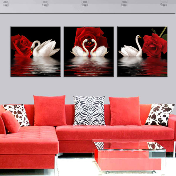 Canvas Pictures Home Decor For Living Room 3 Pieces Swan Rose Paintings HD Printed Flowers Posters Modular Wall Art Framework