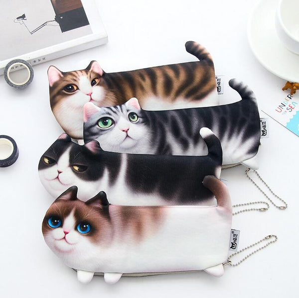 New Cute Cat Face Printed Zipper Coin Purses For Kids Students Pencil case Cartoon Wallet Bag coin Pouch Children Purse Holder