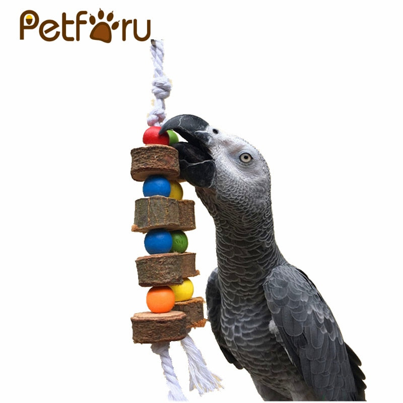 PETFORU Solid Wood Bird Parrot Chew Toy Parakeet Wooden Ball String Cage Toy Decoration Bird Toys Pet Supplies - Color Random