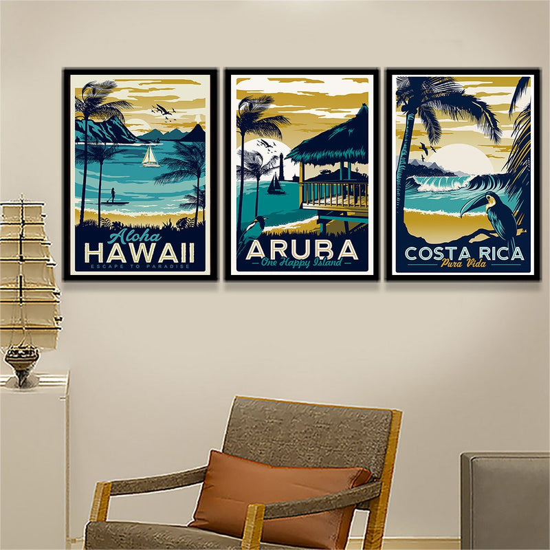 Minimalist Vintage Aruba Hawaii Sea Beach Poster Canvas Art Print Nordic Painting Landscape Wall Pictures For Living Room Decor
