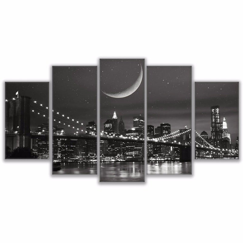Canvas Paintings Modular Wall Art Frame Home Decor 5 Pieces New York Moonscape Pictures HD Prints Brooklyn Bridge Poster PENGDA