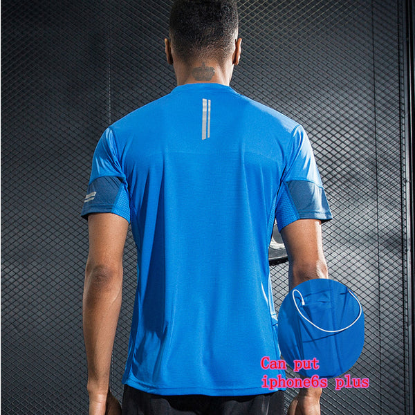 Professional  Men's Sport Running Shirt Quick Dry Short Sleeve Basketball Soccer Training T Shirt Men Gym Clothing Sportswear