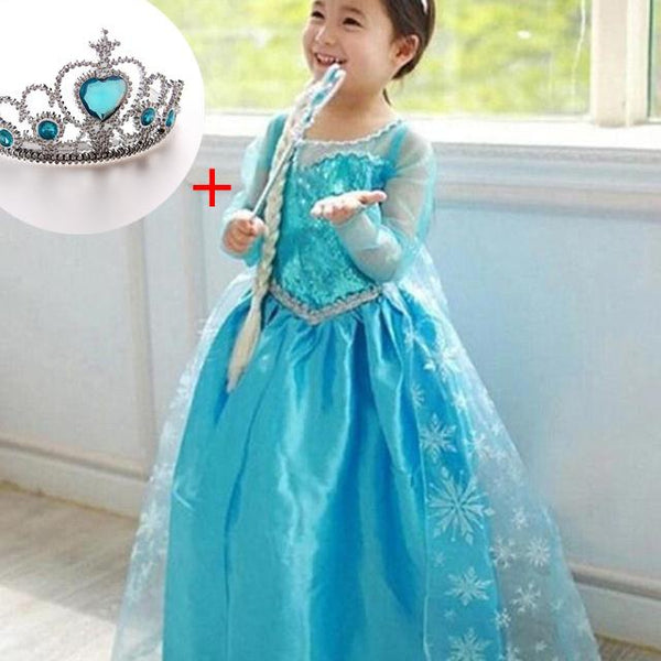 Baby Girl Role Play Princess Elsa Dress for Girls Clothing Halloween Fancy Cosplay Elza Costume Christmas Party With Crown