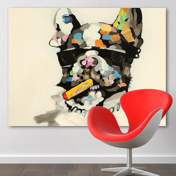 HDARTISAN Animal Painting Canvas Art Smoking Pitbull Wall Pictures For Living Room Home Decor Printed Frameless