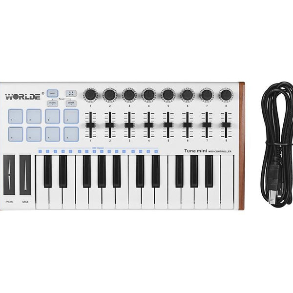 WORLDE TUNA MINI MIDI Keyboard 25-Key USB MIDI Controller Keyboard 8 RGB Backlit Trigger Pads with 6.35mm Pedal Jack