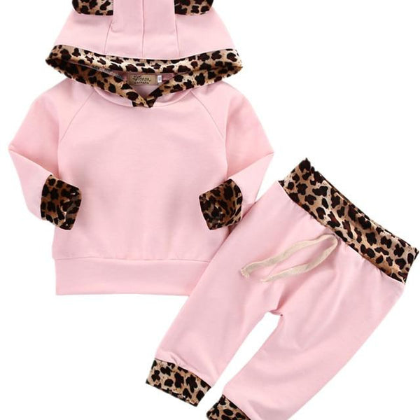 Infant Toddler Newborn Baby Girl Clothes Leopard Side Pink Coat Hoodie Top Sweatshirt Pants Leggings Outfits Set