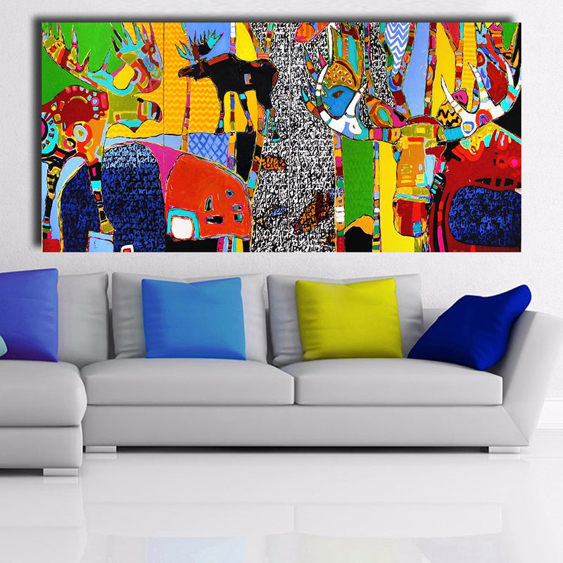 HDARTISAN Modern abstract Canvas Art Life in the forest Wall Pictures For Living Room Pictures Home Decor Frameless