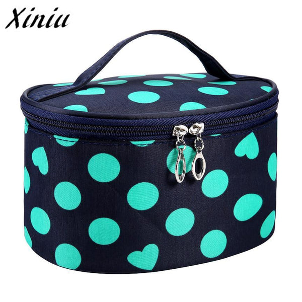 Xiniu Woman Portable Storage Makeup Bags Travel Large Capacity Cosmetic Bag Canvas Dot Beauty Portable Cosmetic Bag A0711#121