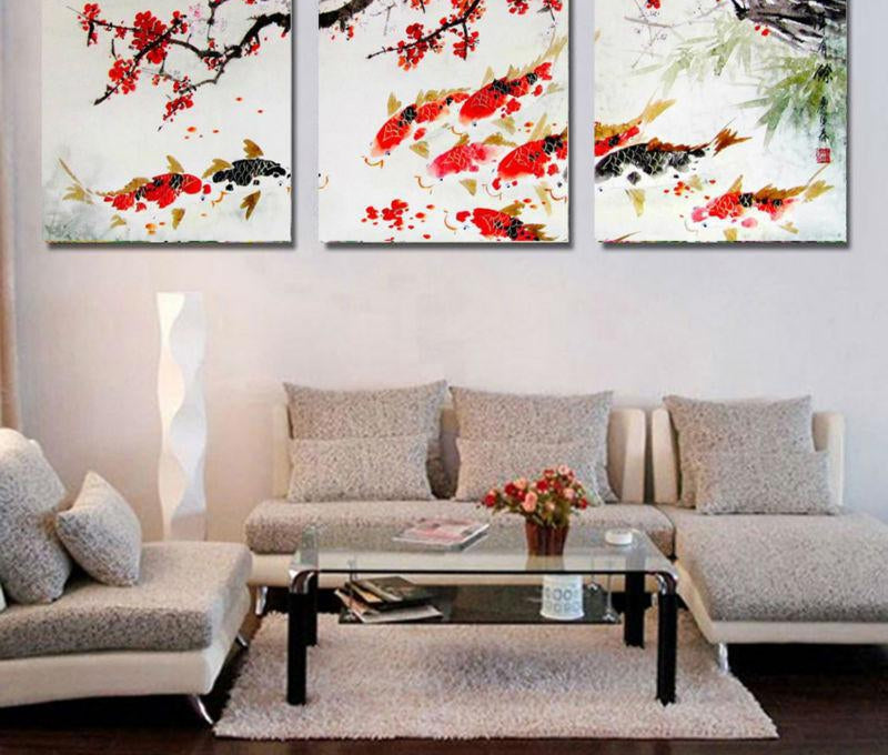 HD Printed Modular Pictures Frame Painting For Room Home Wall Art Decor 3 Pieces Cherry Blossom Koi Fish Canvas Abstract Poster