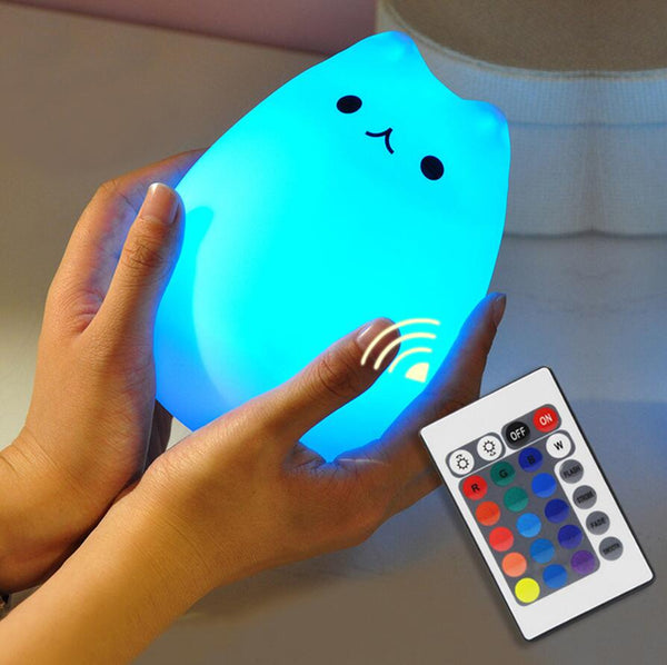 Cute Cat Dog LED Night Light Animal Silicone Soft Cartoon Baby Nursery Lamp Breathing Children birthday christmas Gift