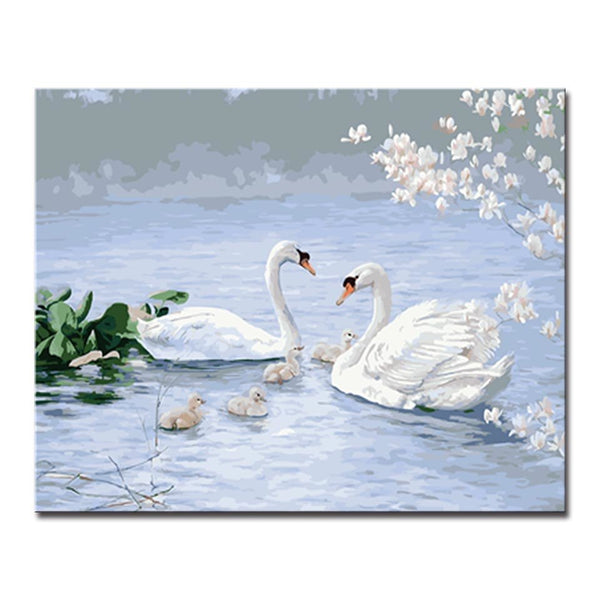 DIY Coloring Digital Oil Painting By Numbers Pictures Drawing Lake Beautiful White Swan On Canvas Wall Art Home Decor Kids Gifts