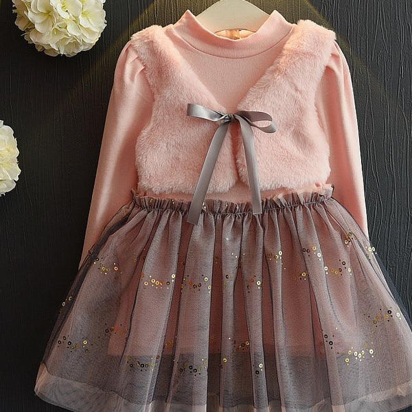Girls Lace Dress 2019 Spring Style Flore Children Clothes Dress Full-Sleeve Kids Mesh Princess Dress Cute Girls Clothing Dress