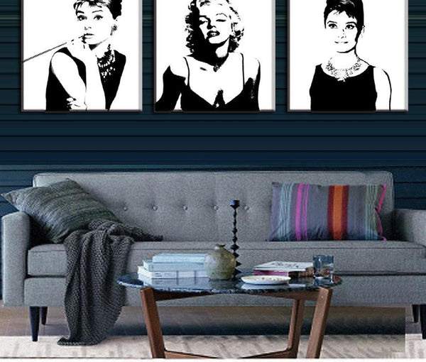 3 Pcs Vintage Poster Portrait Oil Painting Canvas Wall Art Picture Marilyn Monroe And Audrey Hepburn Canvas Prints Pictures