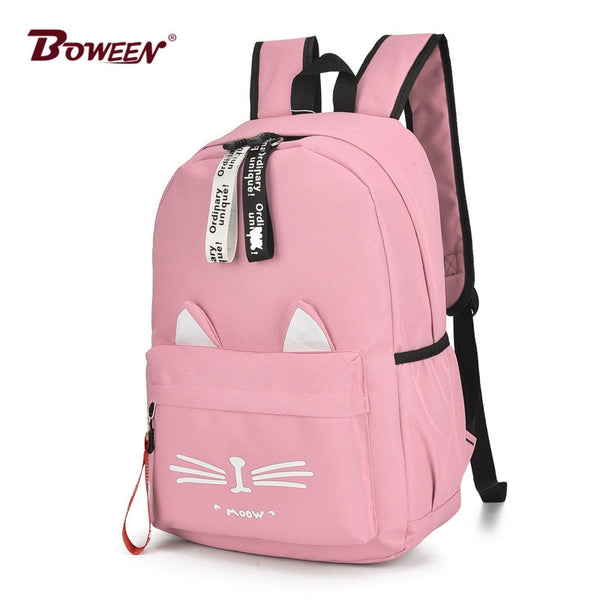 Cute Cartoon Cat Ears Backpack Girl Schoolbag for Teenage Women Back Pack Nylon School Backpack Famale Teen Bagpack 2018 new