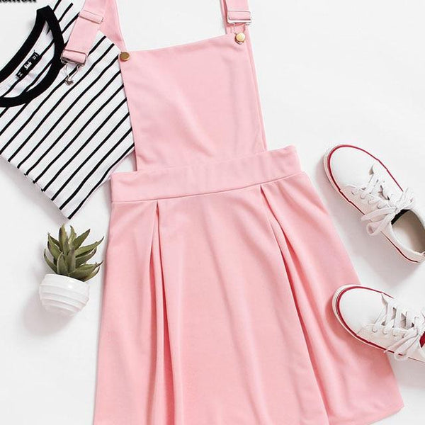 Dotfashion Pleated Zip Up Back Pinafore Dress 2019 New Pink Short Pinafore Woman Clothing Straps Sleeveless Solid Dress