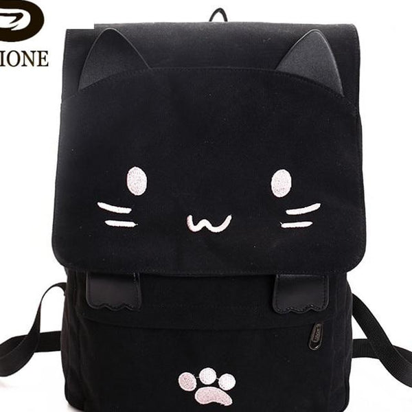 Women Cute Cat Backpack Canvas Kawaii Backpacks School Bag for Student Teenagers Lovely Rucksack Cartoon Bookbags Mochilas
