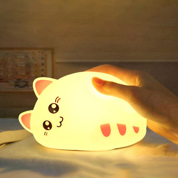 USB rechargeable cartoon LED Night Light Animal Cat stype Silicone Soft Breathing Cartoon Baby Nursery Lamp for Children Gift