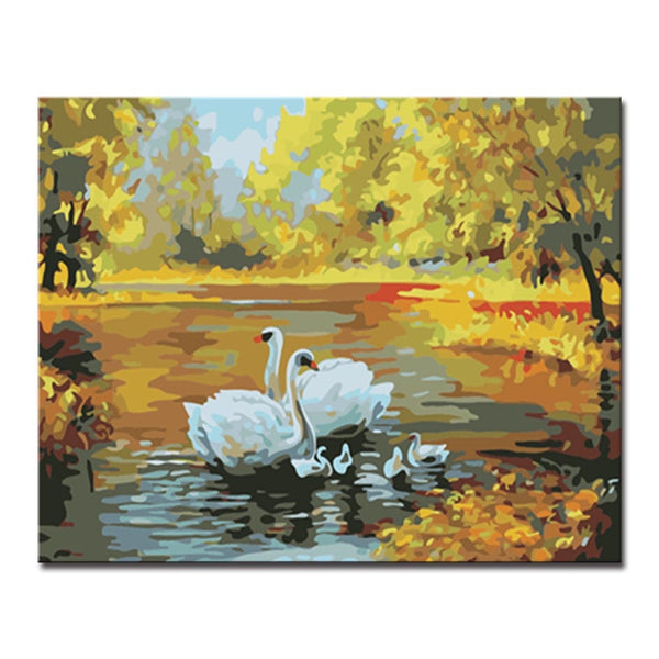 By Numbers Hand DIY Oil Paint Drawing Painting Coloring Swan Lakes Tree Scenery On Canvas Framed Wall Modular Paints Art Picture